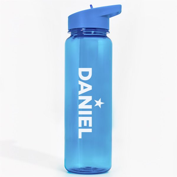 Name and Star Personalised Blue Water Bottle